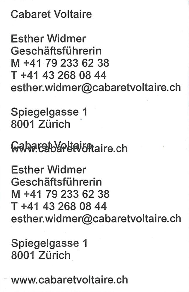 Cabaret Voltaire Baenziger Hug - Cárter Studio